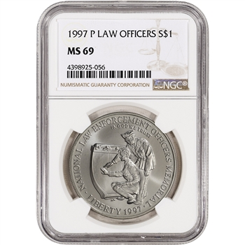 1997-P US National Law Enforcement Officers Commem BU Silver $1 NGC MS69
