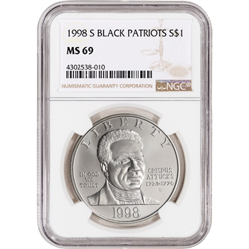 1998-S US Black Revolutionary War Patriots Commemorative BU Silver $1 - NGC MS69
