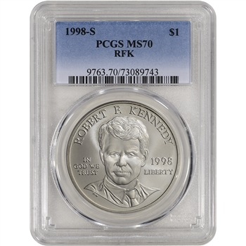 1998-S US Robert F. Kennedy Commemorative BU Silver Dollar - PCGS MS70