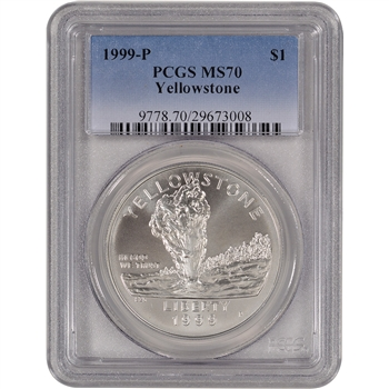 1999-P US Yellowstone National Park Commemorative BU Silver Dollar - PCGS MS70