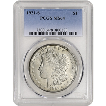 1921-S US Morgan Silver Dollar $1 - PCGS MS64