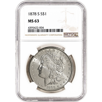 1878-S US Morgan Silver Dollar $1 - NGC MS63