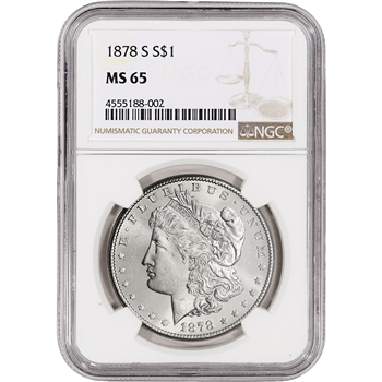 1878-S US Morgan Silver Dollar $1 - NGC MS65