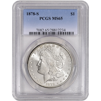 1878-S US Morgan Silver Dollar $1 - PCGS MS65