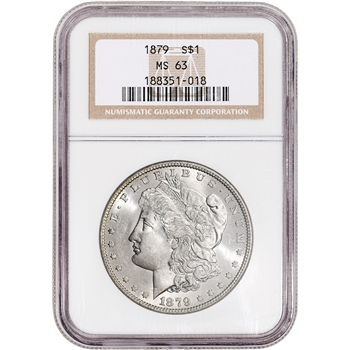 1879 US Morgan Silver Dollar $1 - NGC MS63