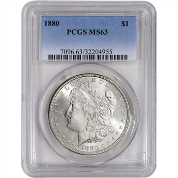 1880 US Morgan Silver Dollar $1 - PCGS MS63