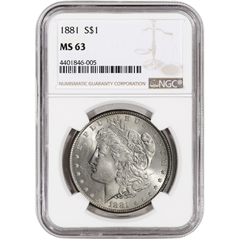 1881 US Morgan Silver Dollar $1 - NGC MS63