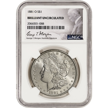 1881-O US Morgan Silver Dollar $1 - NGC Brilliant Uncirculated