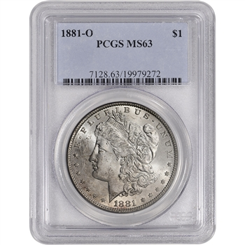 1881-O US Morgan Silver Dollar $1 - PCGS MS63