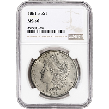 1881-S US Morgan Silver Dollar $1 - NGC MS66