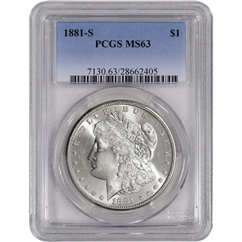 1881-S US Morgan Silver Dollar $1 - PCGS MS63