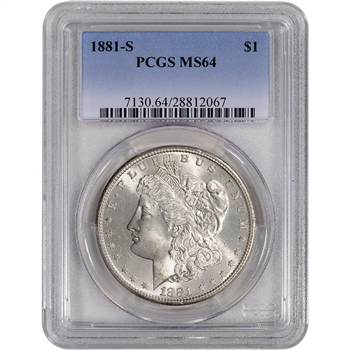 1881-S US Morgan Silver Dollar $1 - PCGS MS64