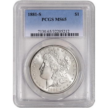 1881-S US Morgan Silver Dollar $1 - PCGS MS65