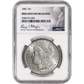 1882 US Morgan Silver Dollar $1 - NGC Brilliant Uncirculated