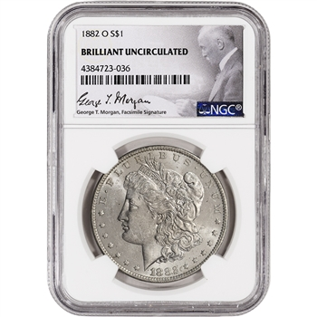 1882-O US Morgan Silver Dollar $1 - NGC Brilliant Uncirculated
