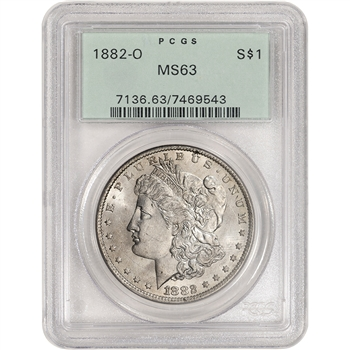 1882 O US Morgan Silver Dollar $1 - PCGS MS63 Green Label