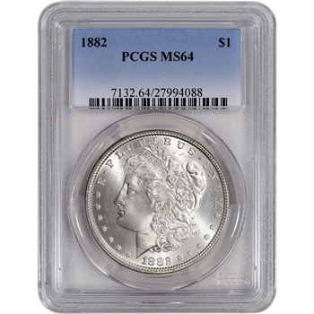1882 US Morgan Silver Dollar $1 - PCGS MS64