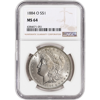 1884-O US Morgan Silver Dollar $1 - NGC MS64