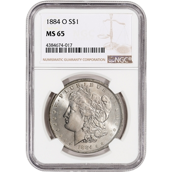 1884-O US Morgan Silver Dollar $1 - NGC MS65