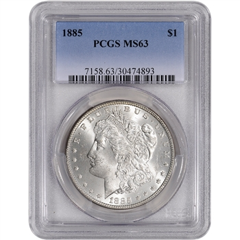 1885 US Morgan Silver Dollar $1 - PCGS MS63