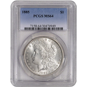 1885 US Morgan Silver Dollar $1 - PCGS MS64