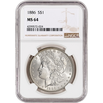 1886 US Morgan Silver Dollar $1 - NGC MS64