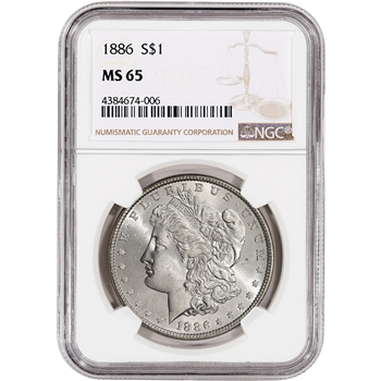 1886 US Morgan Silver Dollar $1 - NGC MS65