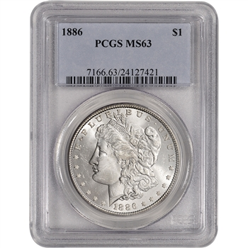 1886 US Morgan Silver Dollar $1 - PCGS MS63