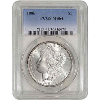 1886 US Morgan Silver Dollar $1 - PCGS MS64