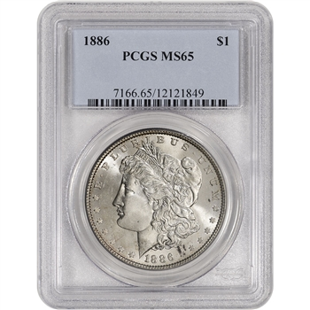 1886 US Morgan Silver Dollar $1 - PCGS MS65