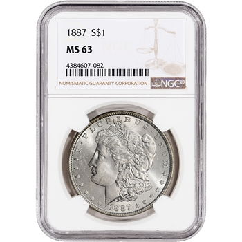 1887 US Morgan Silver Dollar $1 - NGC MS63