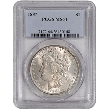1887 US Morgan Silver Dollar $1 - PCGS MS64
