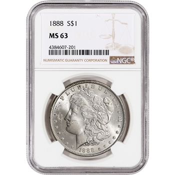 1888 US Morgan Silver Dollar $1 - NGC MS63
