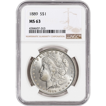 1889 US Morgan Silver Dollar $1 - NGC MS63