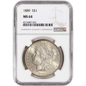 1889 US Morgan Silver Dollar $1 - NGC MS64
