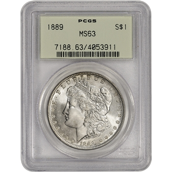 1889 US Morgan Silver Dollar $1 - PCGS MS63