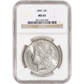 1890 US Morgan Silver Dollar $1 - NGC MS63