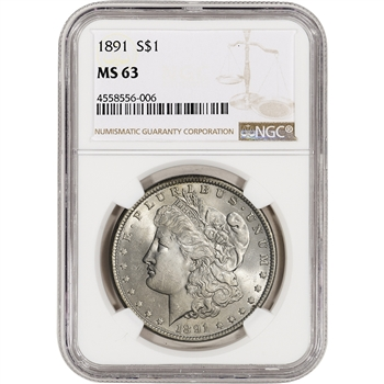 1891 US Morgan Silver Dollar $1 - NGC MS63