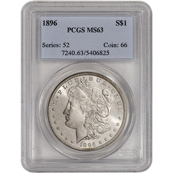 1896 US Morgan Silver Dollar $1 - PCGS MS63