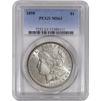 1898 US Morgan Silver Dollar $1 - PCGS MS63