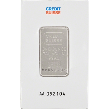 1 oz. Palladium Bar - Credit Suisse - 999.5 Fine in Assay