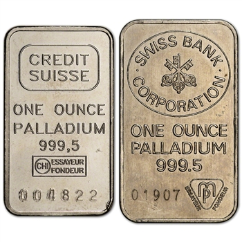 1 oz. Palladium Bar - Random Brand - Secondary Market - 999.5 Fine