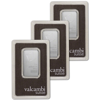 1 oz. Palladium Bar - Valcambi Suisse - 999.5 Fine in Assay - Three 3 Bars
