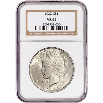 1922 US Peace Silver Dollar $1 - NGC MS64