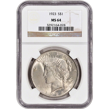 1923 US Peace Silver Dollar $1 - NGC MS64