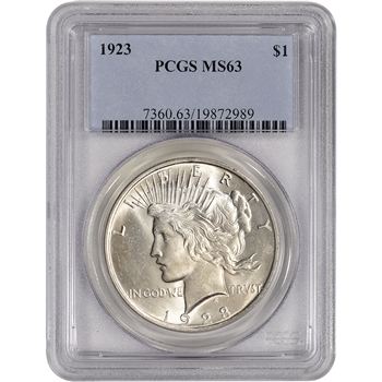 1923 US Peace Silver Dollar $1 - PCGS MS63