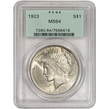 1923 US Peace Silver Dollar $1 - PCGS MS64 - PCGS Green Label