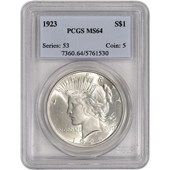 1923 US Peace Silver Dollar $1 - PCGS MS64