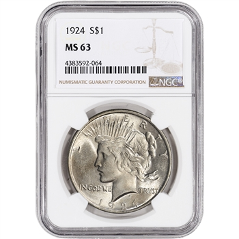 1924 US Peace Silver Dollar $1 - NGC MS63