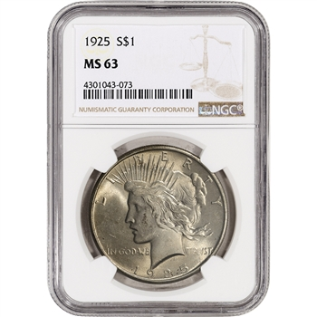 1925 US Peace Silver Dollar $1 - NGC MS63